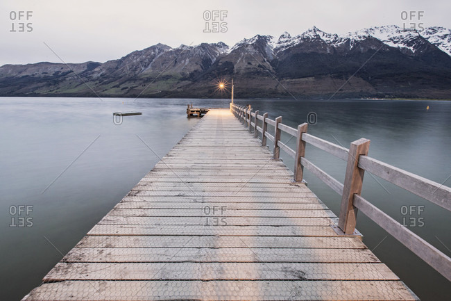 A Dock At Twilight On Lake Wakatipu, Glenorchy, New Zealand
