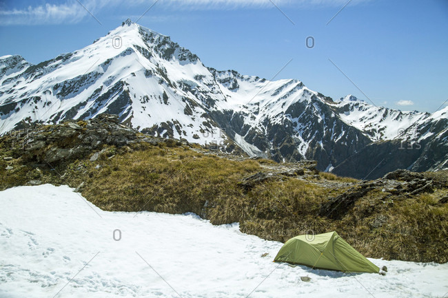 Alpine Camping On French Ridge In Mount Aspiring National Park