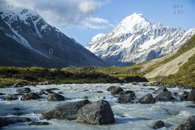 The Road To Mount Cook National Park In New Zealand