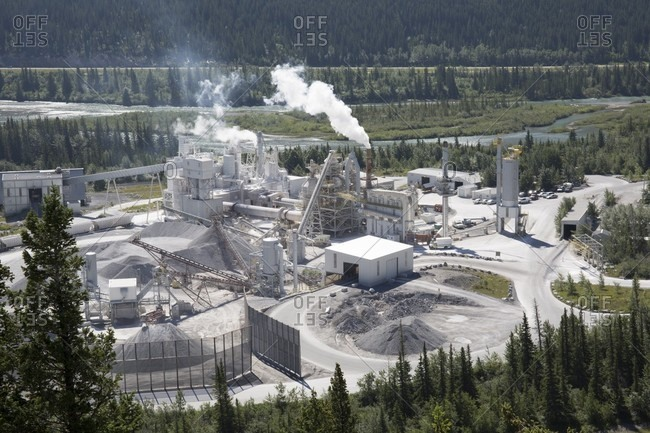 Aerial view of cement plant in mountains