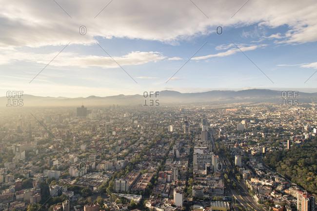 Ciudad de Mexico, Ciudad de Mexico, Mexico - December 4, 2016: View of Mexico City from a high building in Paseo de la Reforma, Distrito Federal, Mexico