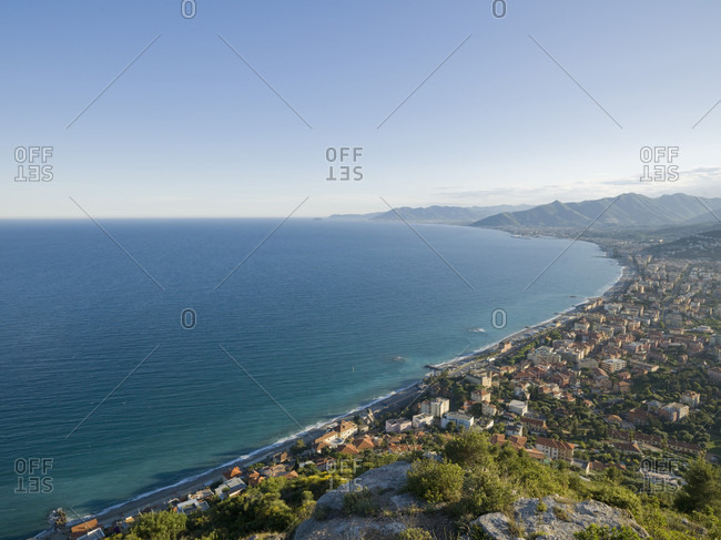 Elevated view of Mediterranean coastline from rock bluff