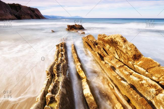 The Beach Of Zumaia Village In Euskadi, Basque Country, Spain, Europe