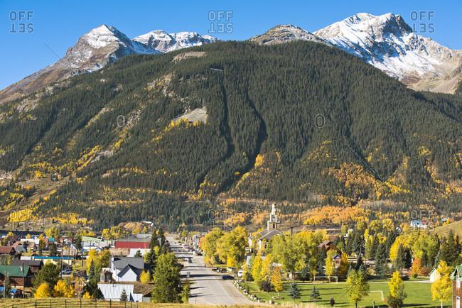 Silverton, Colorado, USA - September 27, 2016: A fall day in the mountain town of Silverton, Colorado