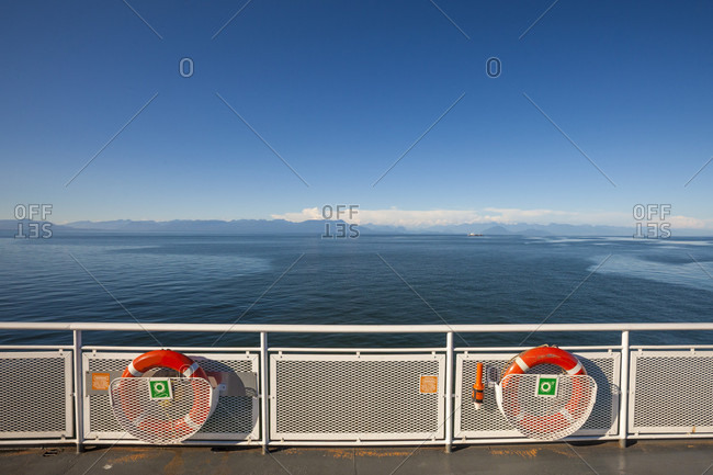 Deck Of A British Columbia Ferry Vessel Moving Through The Salish Sea