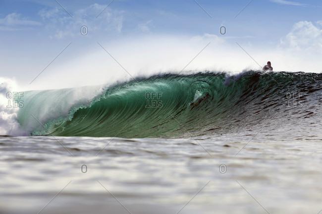 Surfer Surfing On Big Wave