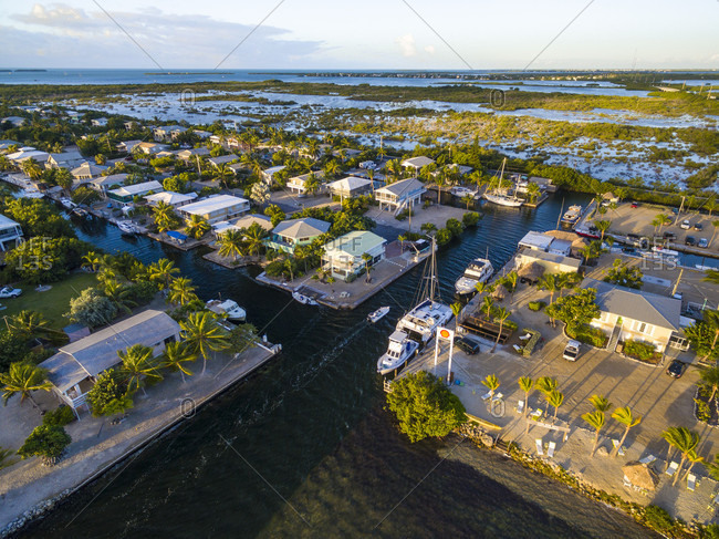 Miami, Florida, United States - April 17, 2017: Aerial View Of Miami Beach With Houses And Harbor
