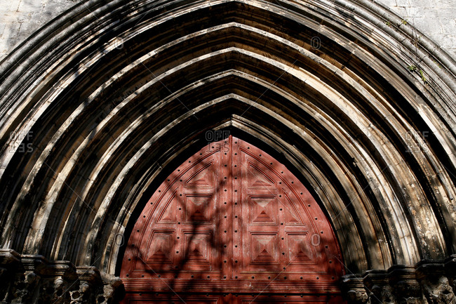 Architectural detail of gothic arched doorway