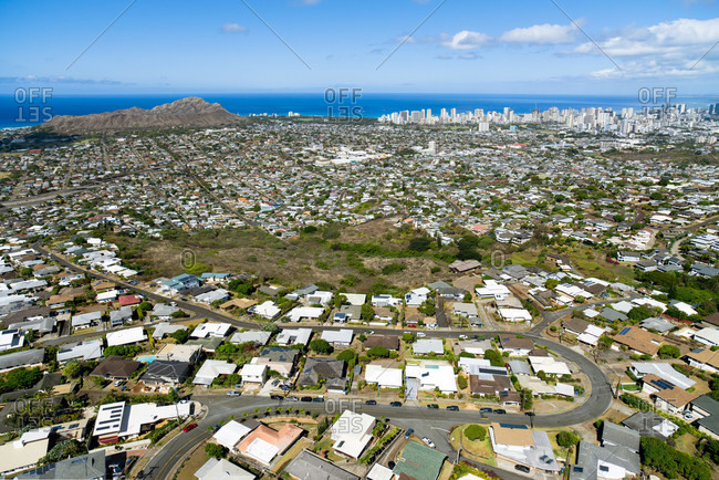A Helicopter View Of The Suburbs Behind Waikiki And Honolulu