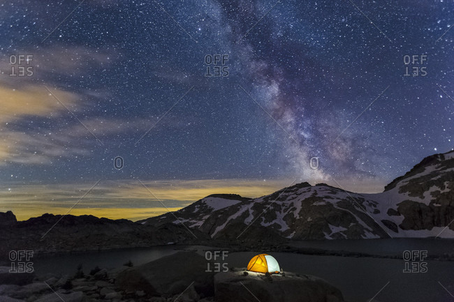 An Illuminated Tent Beneath The Milky Way At The Enchantments