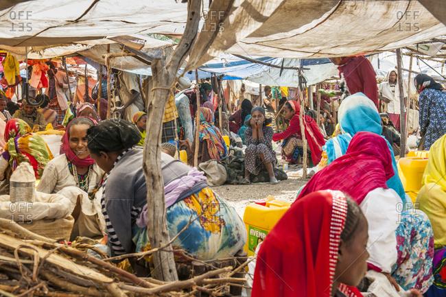 Bati, Ethiopia - November 29, 2010: Shoppers in the market of Bati in the Welo province