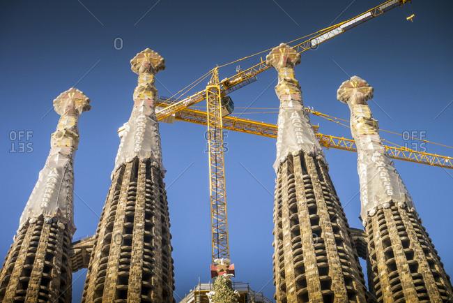 Barcelona, Spain - April 20, 2012: Detail view of construction on Sagrada Familia pillars