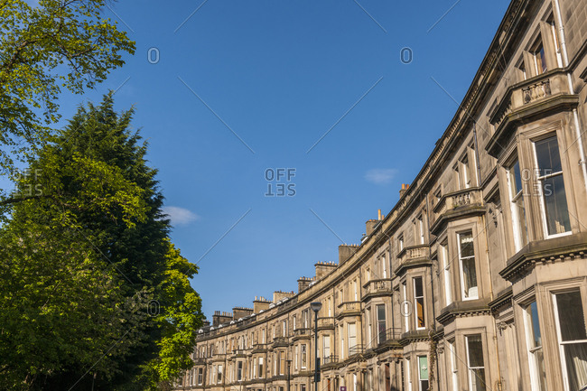 Edinburgh, Scotland - May 21, 2013: Detailed view buildings along Grosvenor Crescent