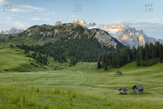Sunrise form Prato Piazza Plateau against Monte Cristallo Mountain, Dolomites, South Tyrol, Italy