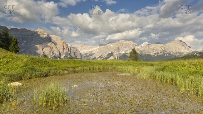 Lake in Pralongia, Val Badia, Dolomites, South Tyrol, Italy