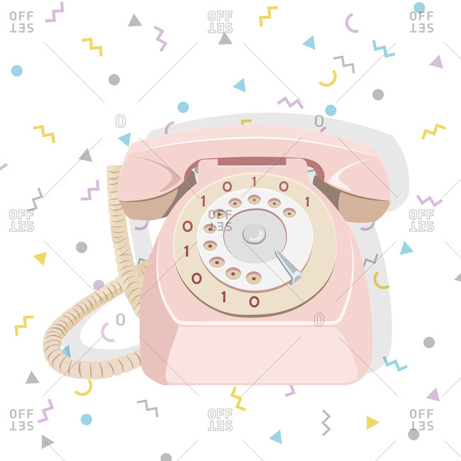 Pink rotary phone with zeroes and ones on the dial