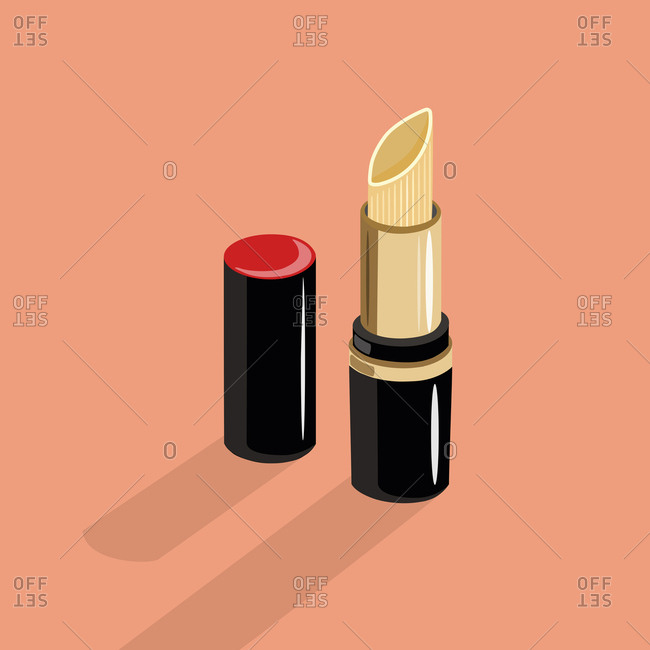 Tube of lipstick on orange background