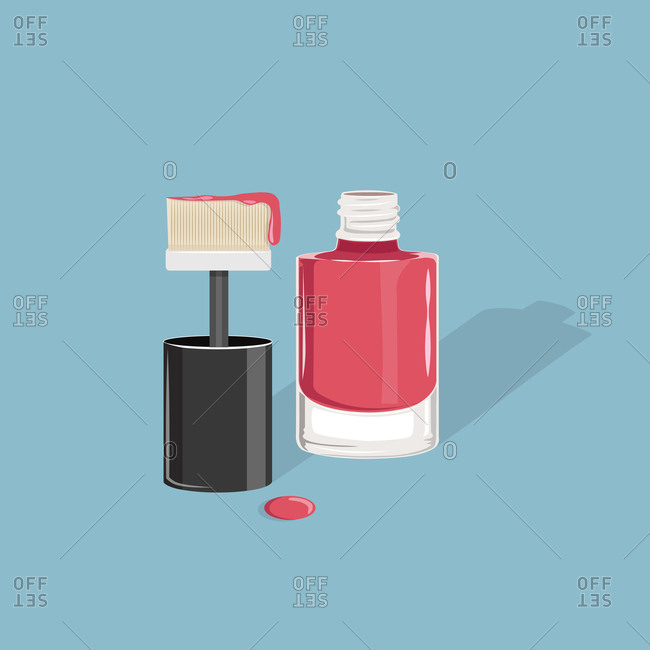 Bottle of nail polish with wide brush on blue background