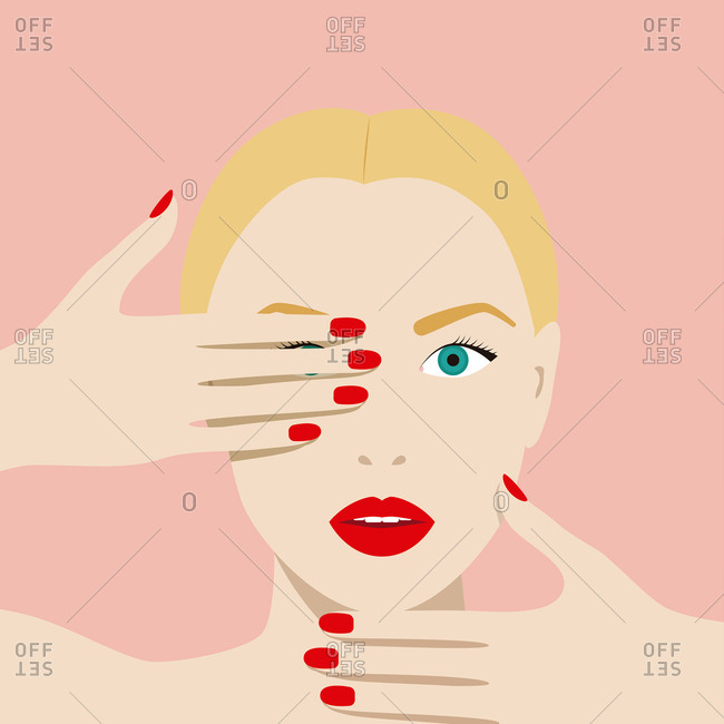 Woman's face with her manicured hands covering her eye