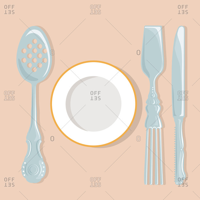 Place setting with slotted spoon and other odd utensils