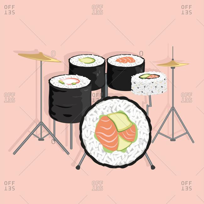 Drum kit made of sushi rolls