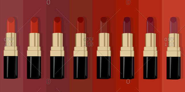 Tubes of red lipstick on background of red swatches