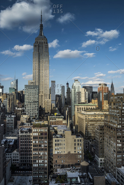 New York, NY - October 17, 2014: City view of midtown Manhattan buildings