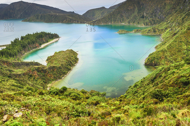 Crater lake Lagoa do Fogo in the caldera of volcano Agua de Pau, Lagoon of Fire, viewing point Miradouro Pico da Barrosa, island of Sao Miguel, Azores, Portugal, Europe, Atlantic Ocean