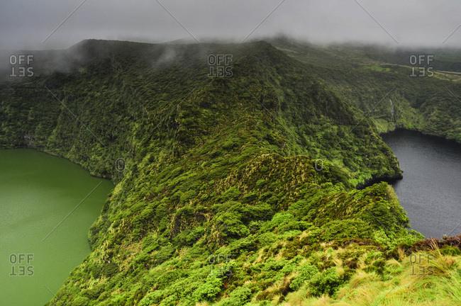 Lakes Lagoa Negra and Lagoa Comprida in fog, crater lakes, Seven Lagoons, Reserva Florestal do Morro Alto e Pico da Se, Highlands, Island of Flores, Azores, Portugal, Europe, Atlantic Ocean
