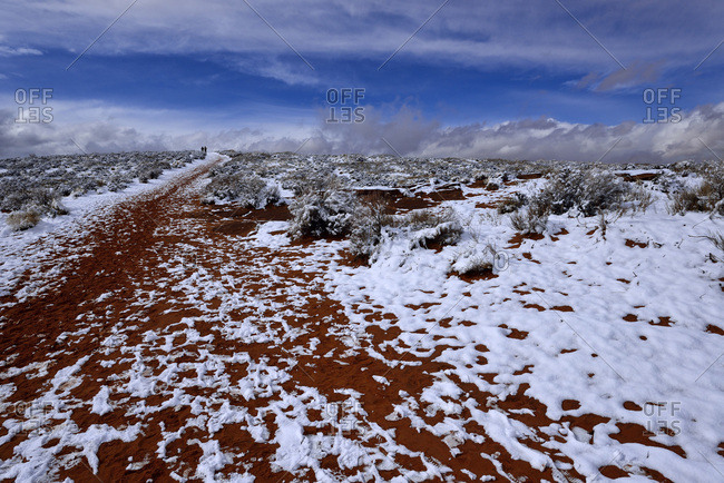 Snowy trailhead to Horseshoe Canyon, Arizona, USA, America