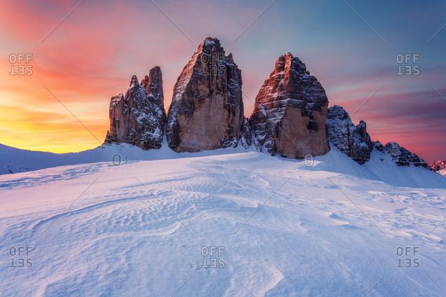 Tre Cime di Lavaredo, Sexten Dolomites on a colorful morning, near the Dreizinnen mountain hut, Unesco world heritage, Italy