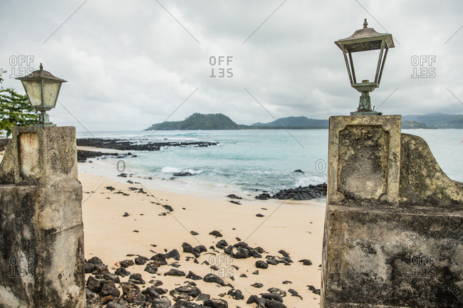 Old wall at a beach, Sao Tome, Sao Tome and Principe, Africa