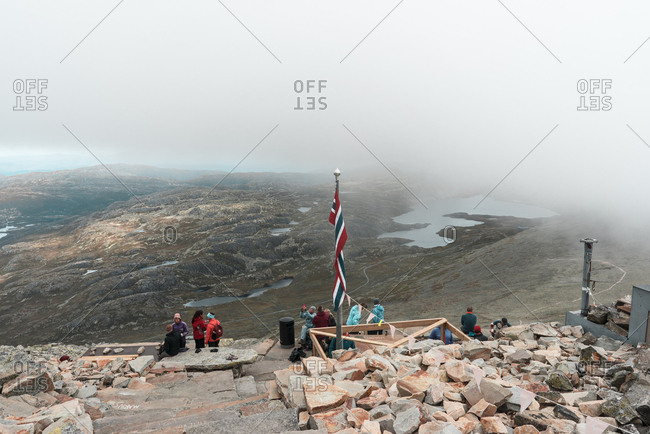 Telemark, Norway - September 2, 2016: People in mountain view of Gaustatoppen