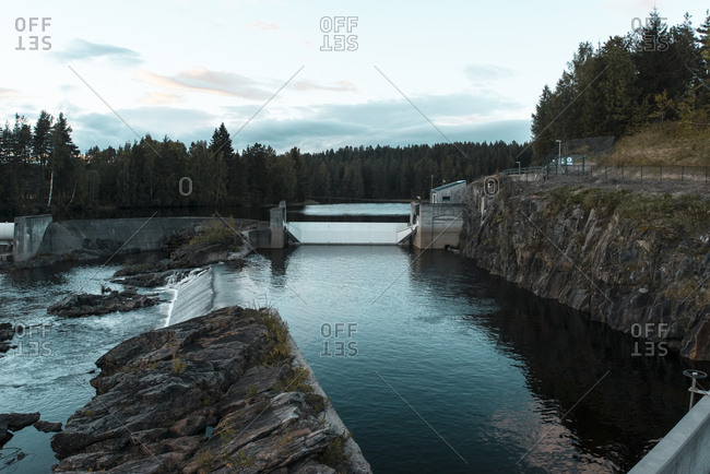 View of old dam in dusk