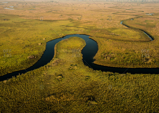 Aerial view of a river in Botswana's Okavango Delta.