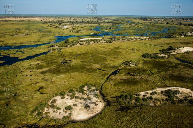 An aerial view of Botswana's Okavango Delta.