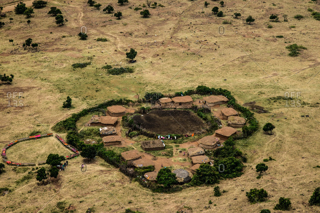 An aerial view of a village in Kenya's Masai Mara National Reserve.
