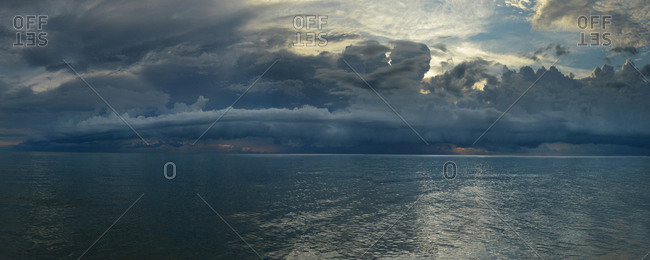 Dramatic sky over the Gulf of Mexico in Naples, Florida.