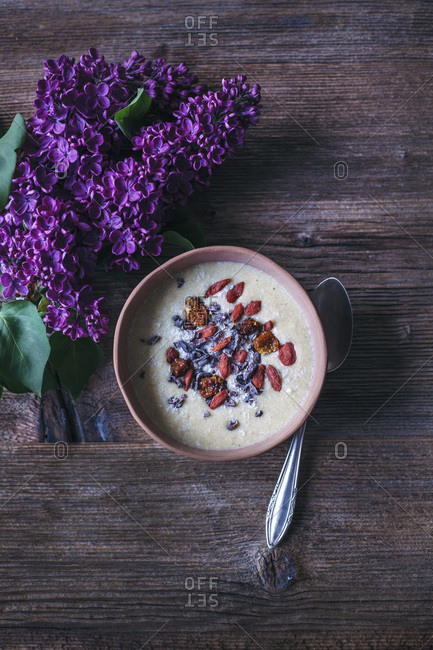 Banana coconut smoothie bowl topped with coconut, cacao nibs, goji berries and inka berries