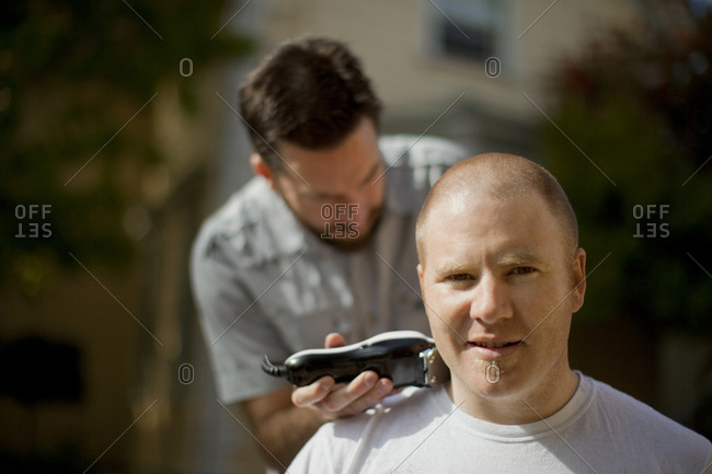 Man getting his head shaved