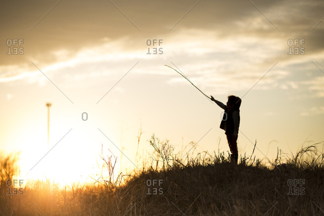 Silhouette of a child standing in a meadow holding a long stick