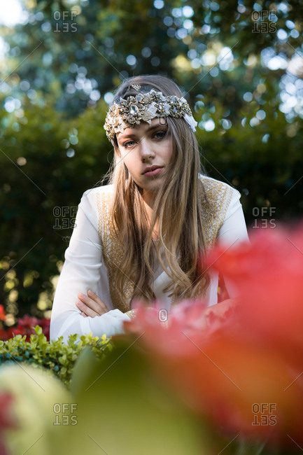 Female in ornamental headband