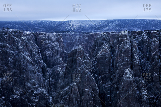 Early morning after a light snowfall on the Black Canyon of the Gunnison in Colorado