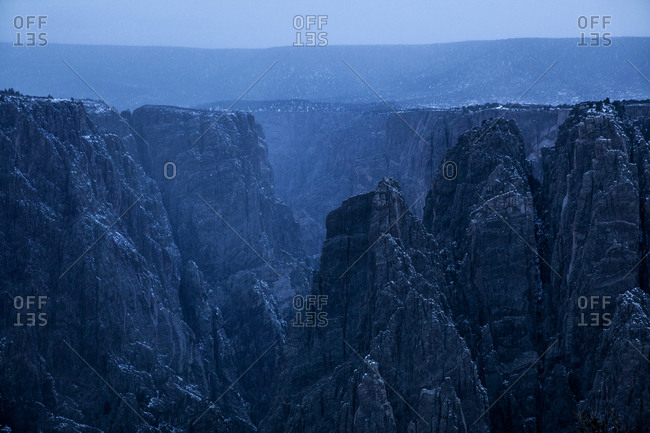 Evening winter mist on the Black Canyon of the Gunnison in Colorado