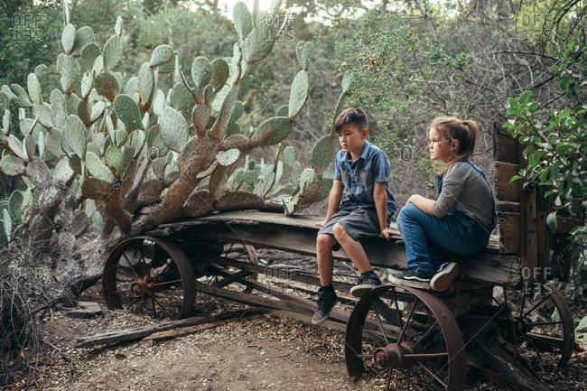 Kids on an old wagon
