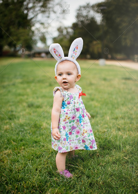 Toddler girl in Easter outfit