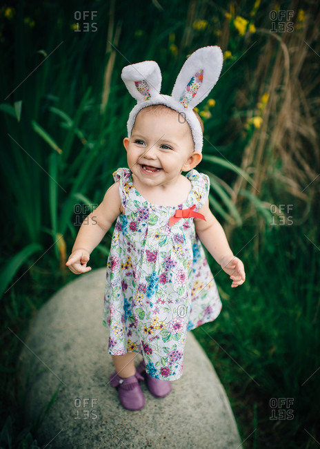 Happy girl in an Easter outfit