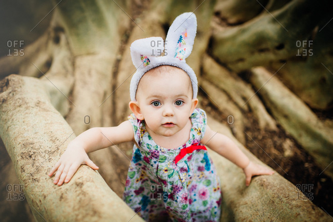 Girl in Easter bunny ears