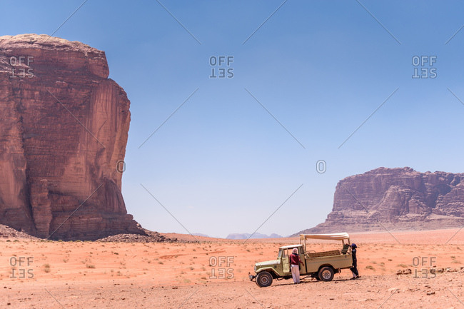 Wadi Rum, Jordan - April 15, 2017: Truck parked in the desert sand