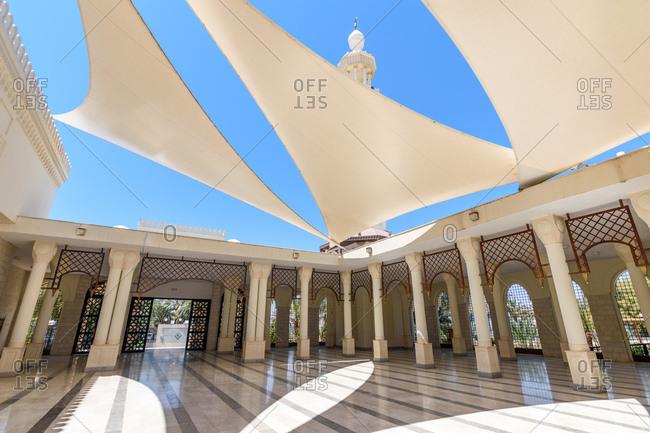 Aqaba, Jordan - April 16, 2017: Courtyard of mosque